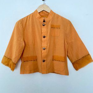 NEW Burning Torch 4 Silk Button Up Beaded Top